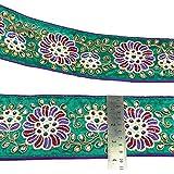 Recorte verde de la tela del arte de la cinta decorativa del ajuste Sari Border 10,1 cm de ancho por The Yard