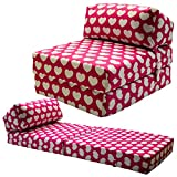 JAZZ CHAIRBED - PINK HEARTS Kids Deluxe Single Chair Bed