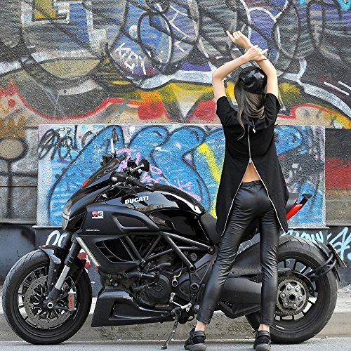 Pizoff Unisex Hip Hop Basic Langärmliges Langes Jersey Sweat T-Shirt Rund Saum Y0577--Black