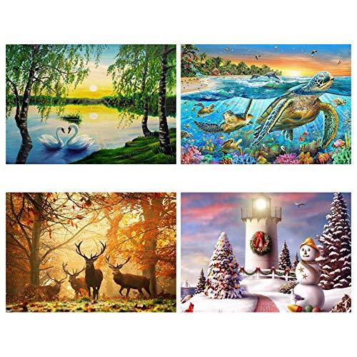 DIY Kreuzstich Diamant Malerei vierteilige Set, vier Jahreszeiten Frühling, Sommer, Herbst und Winter dekorative Malerei 40 * 30cm -