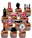 London Party Pack, Kuchen Dekorationen – 36 Essbar Stand-up Cupcake Topper