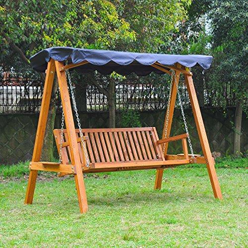 Dondolo con baldacchino 3 posti altalena da giardino panchina swing in legno