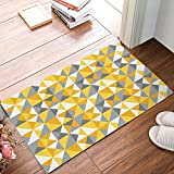 KCOUU Geometric Triangle Pattern Modern Door Mat Indoor Outdoor Non-Skid/Slip Rubber Back Entrance Rugs(Yellow Gold & Grey) 16X24