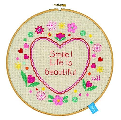 Vervaco PN 0150920 contati Punto Croce Kit, La vita è bella! - Contati Punto Croce Tessuto