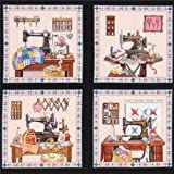 Tela negra panel patchwork coser retro A Stitch In Time de Elizabeth's Studio