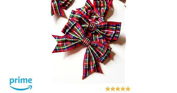 Scottish Decorations Pack Of 2-14cm Tartan Bows Christmas Tree Decorations