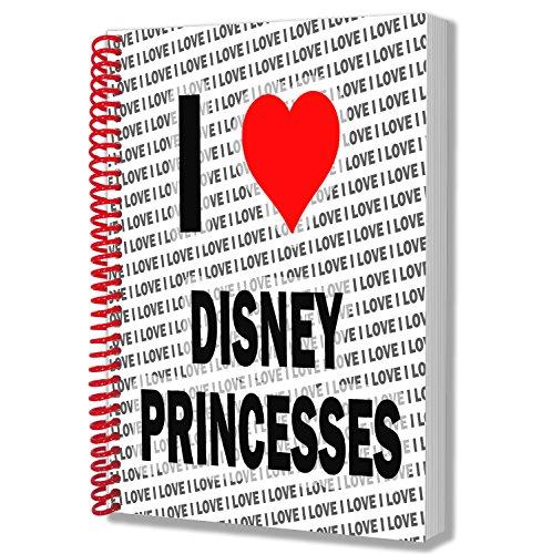 I love Disney Prinzessinnen-Notizbuch A5-Notizblock-Geburtstag-Weihnachten-Geschenk