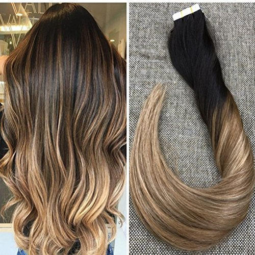 Extension Brown Ombre Hair Light (Ugeat 2.5g/pcs Glatt 100% Brasilianisches Menschliches Haar Tape on Echthaar Tressen 16