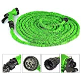 Garden Hose Pipe For 50 Feet ,TechCode ®Green 50 FEET Expandable Flexible Garden Hose Pipe with Spray Gun for Plants Watering and Car Washing (Not