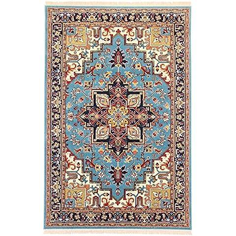 Alfombra Persa Qashqai Heriz alfombra alfombra con diseño grande alfombra, tamaño mediano Rugs, pequeño camino de Rugs, Rugs rojo alfombra, azul alfombra, azul marino alfombra, alfombra de color crema y dorado alfombra y alfombra tradicional Rugs diseño disponible para envío al día siguiente, azul, 300X200 CM 9.8X6.6