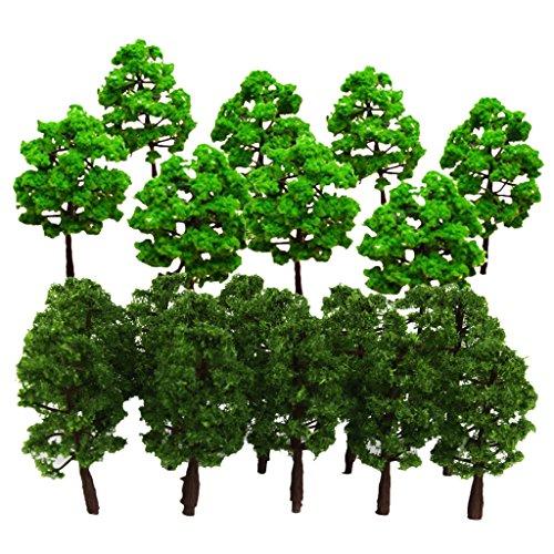 sharprepublic 30 Stücke 1: 150 HO N Modell Bäume Weide Schiene Garten Fluss Straße