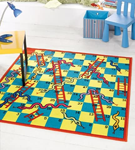 Very Large Kiddy Snakes Ladders Game Play Mat Washable Hardwear Kids Children Rug in 135 x 135 cm (4'5 x 4'5)Square Carpet by Flair Rugs