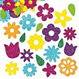 Glitzernde Moosgummi-Aufkleber Blumen - Sticker Set zum Basteln für Kinder und als Dekoration ideal für Frühling (120 Stück)