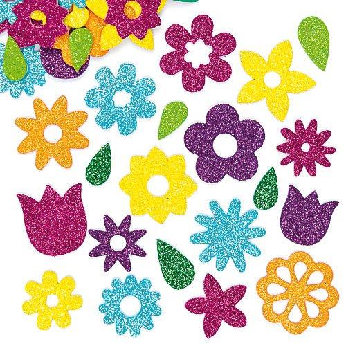 """Glitzernde Moosgummi-Aufkleber """"Blumen"""" - Sticker Set zum Basteln für Kinder und als Dekoration ideal für Frühling (120 Stück)"""