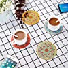 Coffee Silicone Drink Coasters Cup Mats Covers lid for Chinese Element Pattern Wine Glass Tea Home Gift Idea Food Grade Anti-dust Cover Coffee Bottle for Set of 4 Suction Seal Cap Cup Mat