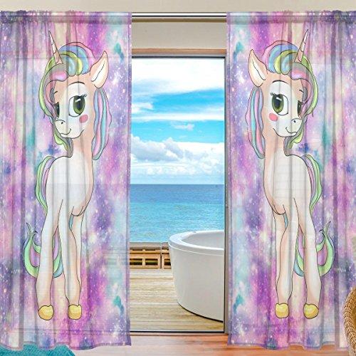 Sheer Voile cortina de ventana Cute Galaxy unicornio patrón impreso poliéster Material Tela para dormitorio decoración hogar puerta decoración cocina salón 2paneles 78x 55pulgadas