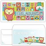 beriluDesign Eulen Einladungskarten mit Umschlägen (12er Set) Zum Kindergeburtstag UHU Kinder Erwachsene Geburtstag-Einladungen Karten Feier Party Mädchen