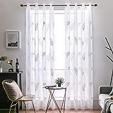 MIULEE Cortinas Visillo Bordado de Plumas Cortina Translucida para Dormitorio Visillos Modernos Transparentes para Ventana Sa