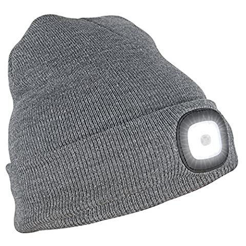 Tagvo USB Rechargeable LED Beanie Cap, Lighting and Flashing Alarm Modes 8 LED Hands Free Flashlight, Easy Install Quick Release Headlamp Beanie, Unisex Winter Warmer Knit Cap Hat -