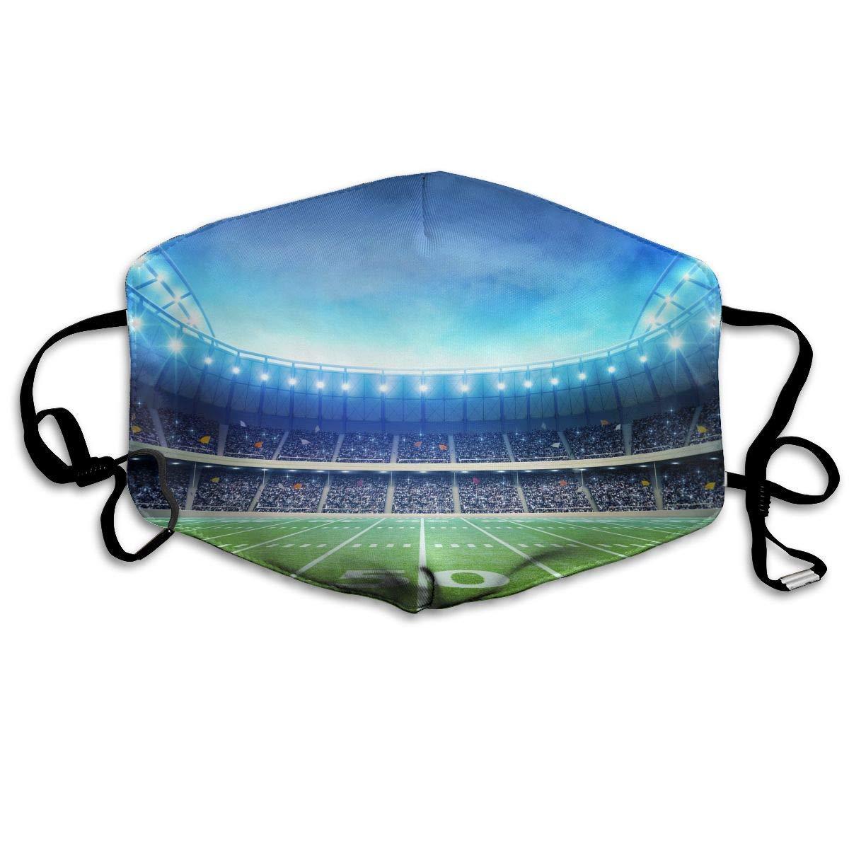 Daawqee Máscara de Boca, American Football Field Unisex Creative Mascarilla Washable Safety 100% Polyester Comfortable Breathable Health Half Face Masks
