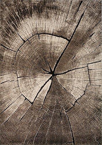 Wohnzimmer Teppich Design Holzstamm Baum Optik in Braun Beige Grau (Braun Kofferraumwanne)