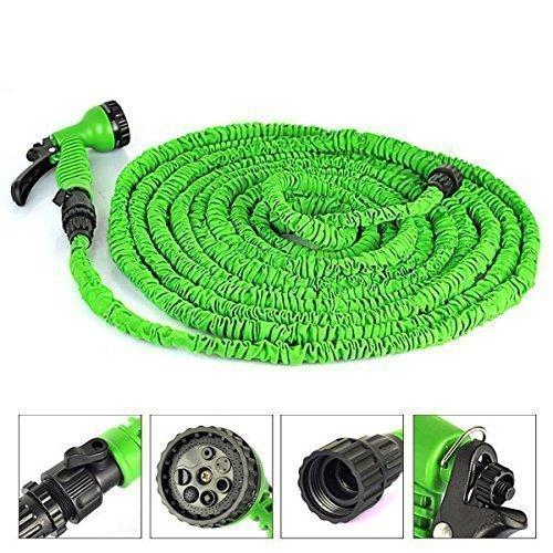 elecfan®100 Meter erweiterbar Flexible Gartenschlauch Rohr mit Spritzpistole für die Bewässerung von Pflanzen und Autowaschanlagen (100 FT, Grün)