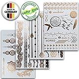 Temporäre Metallic Flash Klebe-Tattoos Silber/Gold, dermatologisch