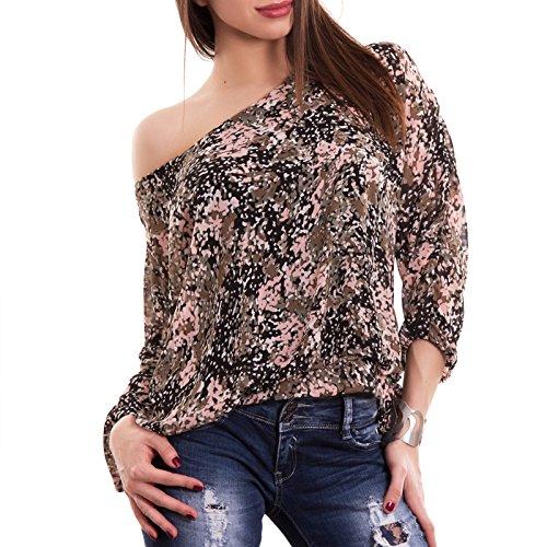 Toocool - Maglia donna velata maglietta multicolor tunica ampia leggera nuova CC-1418 base rosa