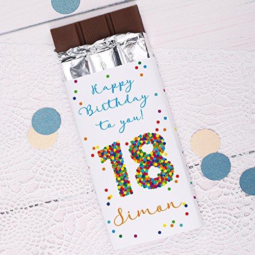 private schoki Vollmilchschokolade zum 18. Geburtstag mit eigenen Wunschtext und Namen