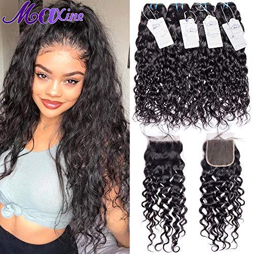 Maxine Hair Brazilian Water Wave Human Hair Bundles Wet and Wavy Human Hair Bundles with Free Part Swiss Lace Closure 100% Virgin Human Hair 3 Bundles Natural Black(14 16 18 with 14 Closure) -