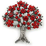 Siamroter Kristall, 'Lebensbaum'-Brosche, Rotguss-Finish