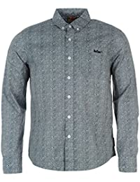 Lee Cooper Kinder Jungen Langarm Hemd Knopfleiste All Over Muster Brusttasche