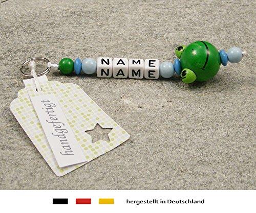 NAMENSANHÄNGER – Anhänger mit Namen   Baby Kinder Schlüsselanhänger für Wickeltasche, Kindergartentasche, Schultasche oder Rucksack mit Schlüsselring   Jungen Motiv Frosch mit blau