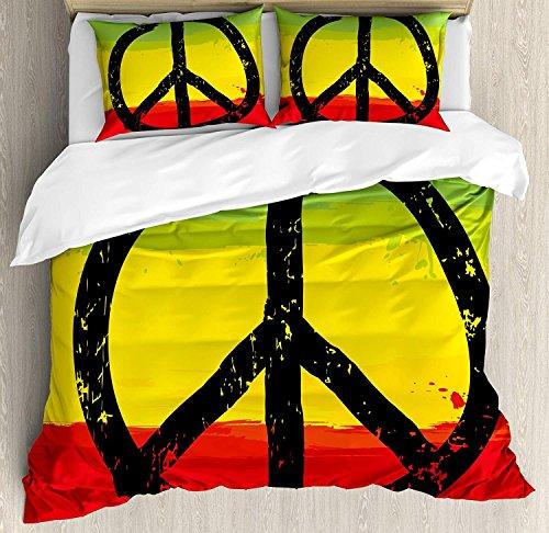 Rasta 3-teiliges Bettwäscheset Bettbezug-Set, Aquarell-Design im Grunge-Stil, Afrikanische Flagge, Hippie-Friedenszeichen, 3-teiliges Tröster- / Qulit-Bezug-Set mit 2 Kissenbezügen, Schwarz, Grün, Gel -
