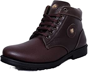 Black Tiger Men's Synthetic Leather Casual Shoes 091-Brown