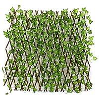 سياج كبير قابل للتمدد بطول 1.2 متر مع نباتات صناعية