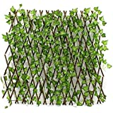 1.2 M Expandable Wicker Large Fence with Faux Plants