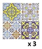 Lote de 12 Pegatinas de pared adhesivas - Motivo cuadrados de cemento - Color AZUL, VERDE Anis y LADRILLO