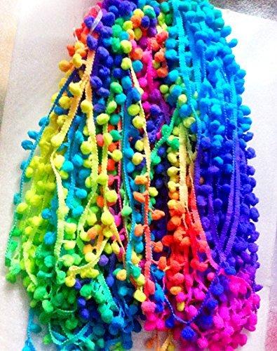 POM POM BOBBLE TRIM FRINGE - Multicolored RAINBOW- Ball 1cm (sold by 10m reel) by HomeBuy (Ball Fringe)
