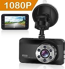 ORSKEY Dashcam 1080P Full HD Autokamera Video Recorder 170 Weitwinkelobjektiv WDR mit 3 Zoll LCD Bildschirm,Auto DVR Kfz Kamera Dash Kamera mit Nachtsicht ,Loop-Aufnahme, Bewegungserkennung und G-Sensor