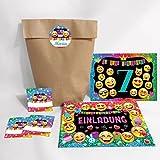 JuNa-Experten 12-er Set Einladungskarten, Umschläge, Geschenktüten, Aufkleber zum 7. Kindergeburtstag für Mädchen / Einladung siebte Geburtstag