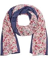 SIX blauer Schal mit zarten Blumen in Pink, Rosa & Blau, Material-Mix (426-150)
