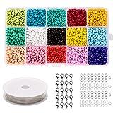 AIEX 15 Grid 15 colores Perlas de vidrio multicolor Granos de la semilla Manualidades con cuentas para collar de pulsera (3000 + piezas)
