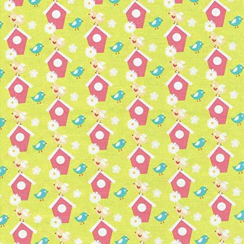 Vegetali Patch-coordinamento in tessuto libertà-100% cotone-tessuti per patchwork e quilting Stampe E Colori coordinati inglese (prezzo al metro/Quarto) Green / Bird House
