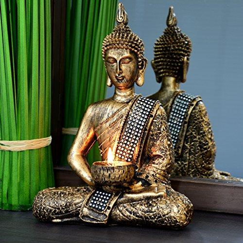 Figura de Buda bronce decorativos con palmatoria - Altura 26cm