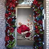 3D PVC Holztür Aufkleber Weihnachtsweihnachtsmann kreative Aufkleber Wandaufkleber Renovierung von Holztüren wasserdichter Aufkleber