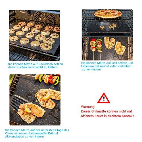 61ko9scb87L - BBQ Grillmatte (3er Set) – iLOME Teflon Antihaftbeschichtung Grillmatte für Holzkohle Grill, elektronisches Grill, Backofen, Dampf-Backofen, Mikrowelle, etc. 33x40CM
