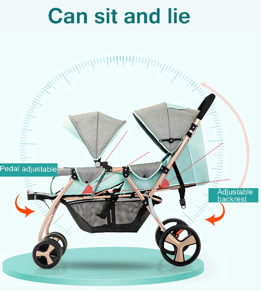 Baby Strollers Double Pushchair Twins Tandem Pushchairs, Reversible Seat Convertible Front And Rear Seats Lightweight with Convertible Bassinet Stroller Extended Canopy/Large Storage Basket,Pink MYRCLMY ♥TWIN STROLLER: Getting everywhere with two little ones has never been easier, thanks to the Double Strollers; you can glide around town even when you only have one hand free to steer; you can even roll through a standard size doorway. ♥ADJUSTABLE BACKREST & CONNECTABLE SEATS :The backrest can adjust to fit baby's sleep posture to keep comfortable sleeping. Two seats can be connected to lengthen the seat. ♥SAFETY WHEELS & 5-POINT SAFETY BELTS:The springs in front wheels absorb shocks for easy to control direction and safety. The 5-point safety belt is equipped with each seat to ensure security while keeping your baby fit to the safety belt to feel comfortable. 12