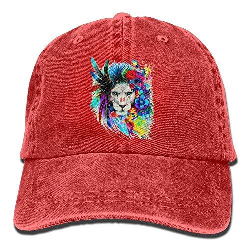 Presock Colorful Flower Butterfly Lion Head Denim Hat Mens Casual Baseball Hat -