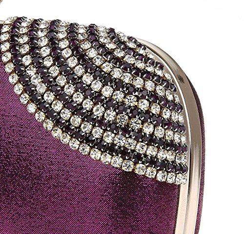 KAXIDY Pochette Donna Luccicante Diamante Sera Borsa Sacchetti di Sera Frizioni Festa Nuziale Borsa Tracolla Viola